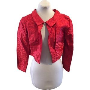 Vintage 60s red brocade cropped blazer/jacket